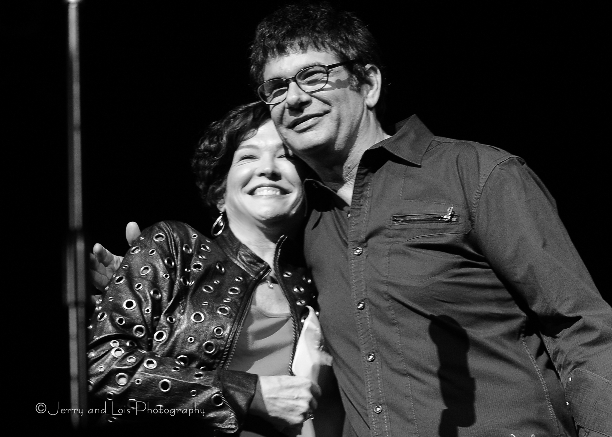 NBC affiliate KING 5 TV Seattle's Meegan Black and Synergia Northwest Producer and Music Director Michael S McMorrow on-stage May 2012 Paramount Theatre, Seattle WA